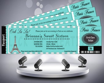 Sweet Sixteen Paris Theme Birthday Ticket Invite