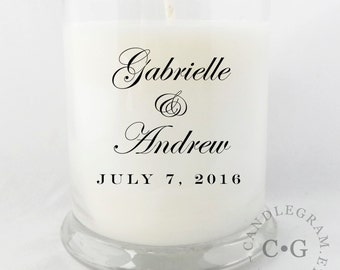CandleGram 10oz Soy Candle....Wedding Gift, Wedding Favor