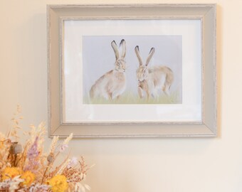 Limited Edition Hares in field print