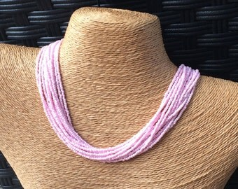 Pink beaded necklace, pink multi-strand necklace, pink bridesmaids, light pink necklace, pink necklace, pink multistrand, pale pink necklace
