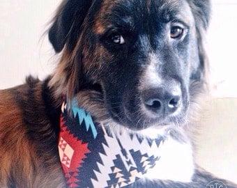 Native DOG Canvas Bandana! FREE SHIPPING! Personalization option! Tie Bandana! Snap bandana!  Cat bandana