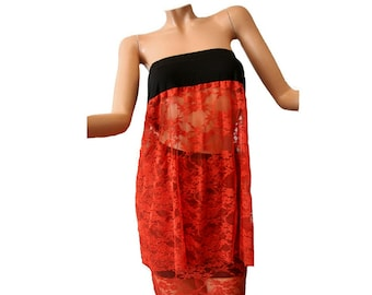 Skirt and Lace Strapless Elegant top black and orange / Holiday dress / Transparency