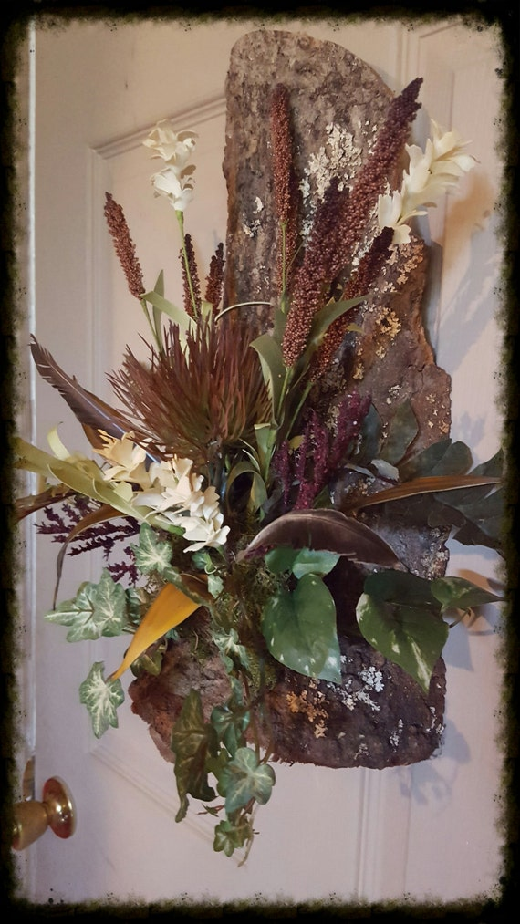 Cow Horn Floral Arrangement Wall Sconce on by TailsEndFlorals on Silk Flower Wall Sconces Arrangements id=93046