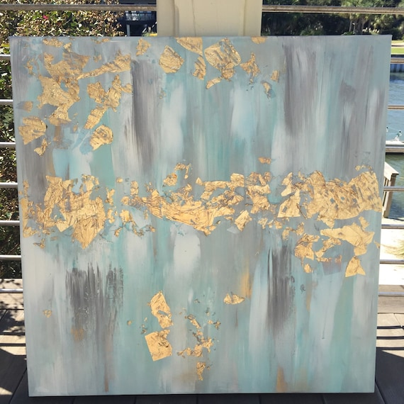 Gold leaf acrylic abstract painting 30x30 for Gold paintings on canvas