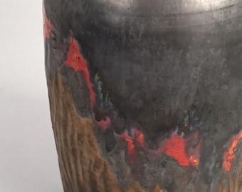 Vase, Medium Silver Gold and Coral Tones