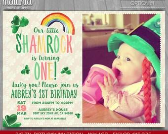 St Patricks Day Birthday Invitation - St Patricks Day Party Invitation - Lucky charm invite - Little Shamrock Invitation with photo