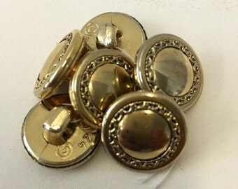 Set with 6 buttons button vintage 15 mm gold