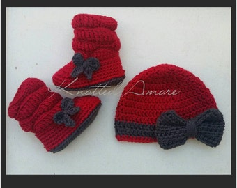 Custom Crochet, Amore Bow Hat and Boot Set