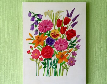 Original floral painting on canvas watercolour and acrylic