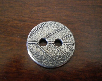 3 - TierraCast Leaf Metal Buttons with Two Holes  17mm Pewter Button