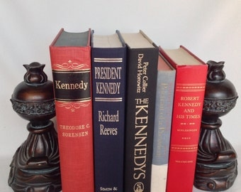 Vintage Books, Book Stack, John F. Kennedy, JFK Books, Robert Kennedy, Set of 5, Red & Black, Instant Library, Old Books, Office Books