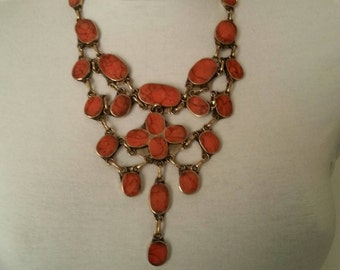 Necklace AFGHAN coral orange
