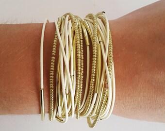 Beige gold Cuff Bracelet