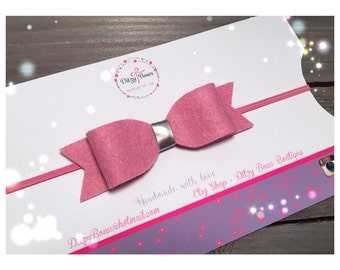 Baby Headband on Skinny Elastic with Cute Felt Bow