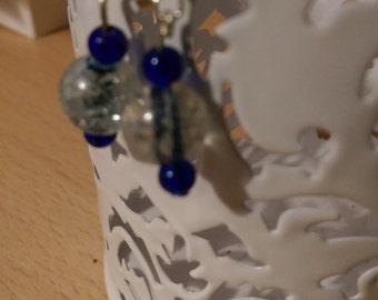 Dark blue dangle drop earrings