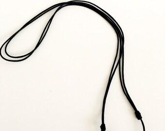 Black Thread Necklace with Faux Blue Gem