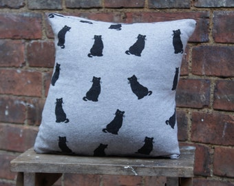 Handmade Cat Cushion Cuddly Sweater Grey 12x12 Home Decor Upcycled