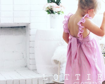 The Violet Dress - ruffle strap dress - toddler dress - pink dress - purple dress - girls dress - girls birthday dress - bow dress - gingham