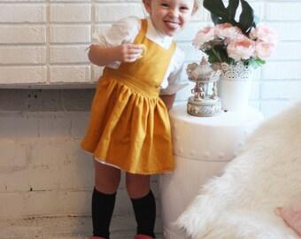 Paige pinafore - toddler pinafore - girls dress - pinafore - kids dress - girls pinafore - winter dress - mustard dress - mustard pinafore