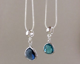 Glass gemstone Necklace, Birthstone necklace, Bridesmaid gift, silver Plated Necklace, Blue, turquoise, black, pendant, gifts for her
