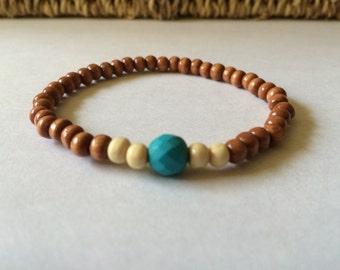 Tan & Teal wood bracelet