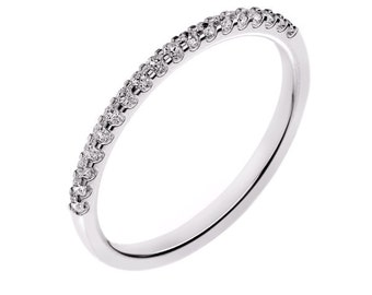 14K White Gold Diamond Wedding Band For Women 0.18 Carats G / SI2 Shared Prong Set  Anniversary band