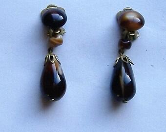 1950S GLASS CLIP ON earrings