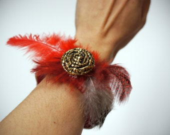 Handmade Bracelet made with Vintage Lace Gold Button & Feathers RED