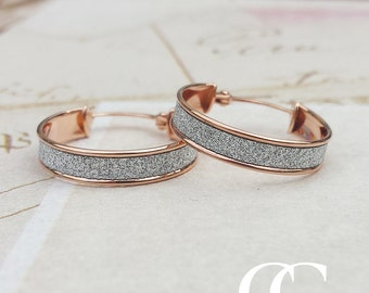 Fine 9ct Rose Gold 1.8cm Stardust Hoop Earrings