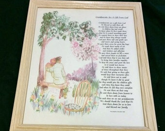 Unique Grandparents Grandmother Grandfather Poem Plaque Wood Frame Free Personalization