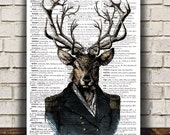 Deer poster Stag print Animal print Wildlife decor RTA1050