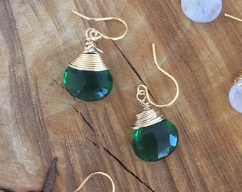 Emerald Quartz Drop Earrings