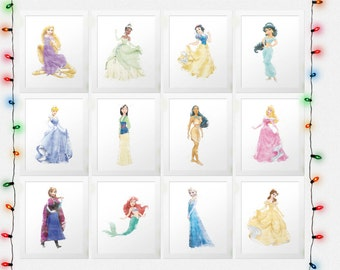 DISNEY PRINCESS SET, Princess Collection, Belle, Aurora, Rapunzel, Tiana, Cinderella, Snow White, Ariel, Jasmine, Watercolor, Digital Prints