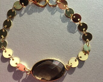Bracelet INDIA Miss VK, designer jewelry, Quartz Fumé