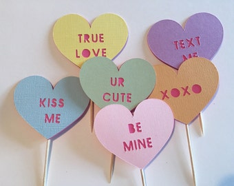 Conversation Hearts Valentine's Day Cupcake Toppers