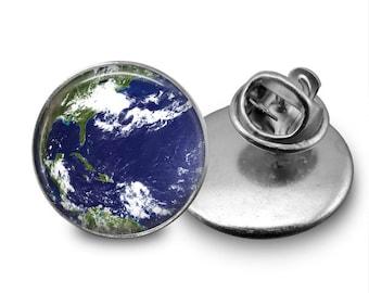 Earth Globe Glass Tie Tack 16mm Tie Pin Lapel pin