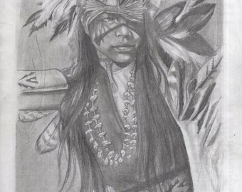Indian pencil drawing by Chris Schaar