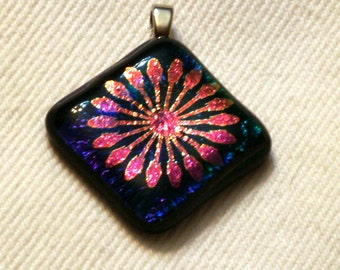 Fused pattern dichroic glass pendant #18