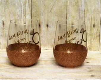 Last fling before the ring stemless glitter wine glasses-bachelorette party gift-bridemaids gift-bride gift-bridal party wine glass