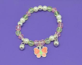 Pink Butterfly Charm Little Girl's Bracelet, Gifts Girls Love, Little Girls Jewelry