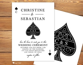 Love in Las Vegas Wedding Invitation - las vegas, vegas, poker, ace, heart, club, diamond, deck, cards, classical, wedding, invitation
