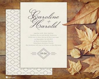 Diamond Wedding Invitation - classical, simple, geometric, calligraphy, names, diamond, shape, clean, wedding, invitation, template