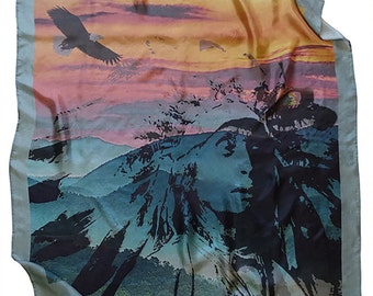 ON SALE Native American Indian Eagle Silk Scarf Gift For Her Handmade Accessories Women Scarves Fashion Scarf Unique Accessories