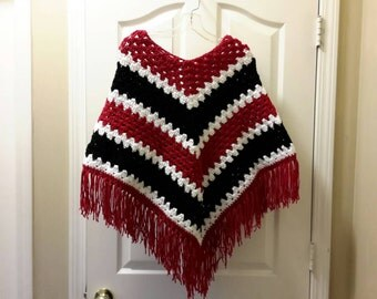 Woman's poncho in Arizona Cardinals colors handmade crocheted