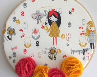 "Mori Girl 8"" Nursery/Bedroom Decorative Wall Hanging Hoop - Nursery, Kid's Room, Home Decor, Embroidery Hoop, Wall Art, Baby Shower"