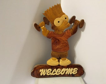 Cute Adorable Simpson  Welcome Wall hanging Home Decor
