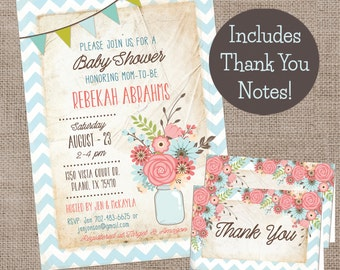 Baby Shower Invitation and Thank You Notes, Floral-Chevron