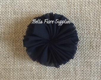 Black Ballerina Chiffon Flowers, 2.5 inch, Chiffon Flowers, Wholesale, DIY, Chiffon Headband