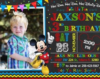 Mickey Mouse Invitation Birthday Mickey Mouse Party