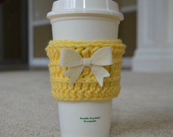 Coffee Cozy in Yellow with Cream Bow